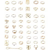 Jstyle 52Pcs Gold Knuckle Rings Set for Women Girls Mid Finger Stackable Rings Set Retro Vintage Joint Finger Rings