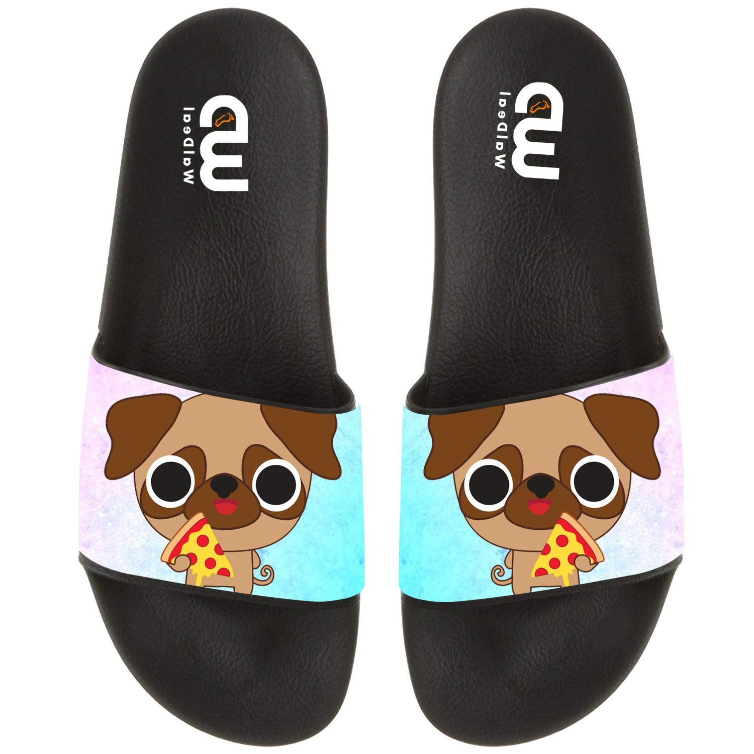 Cartoon Pug with Pizza Print Summer Slide Slippers For Men Women Kid Indoor Open-Toe Sandal Shoes