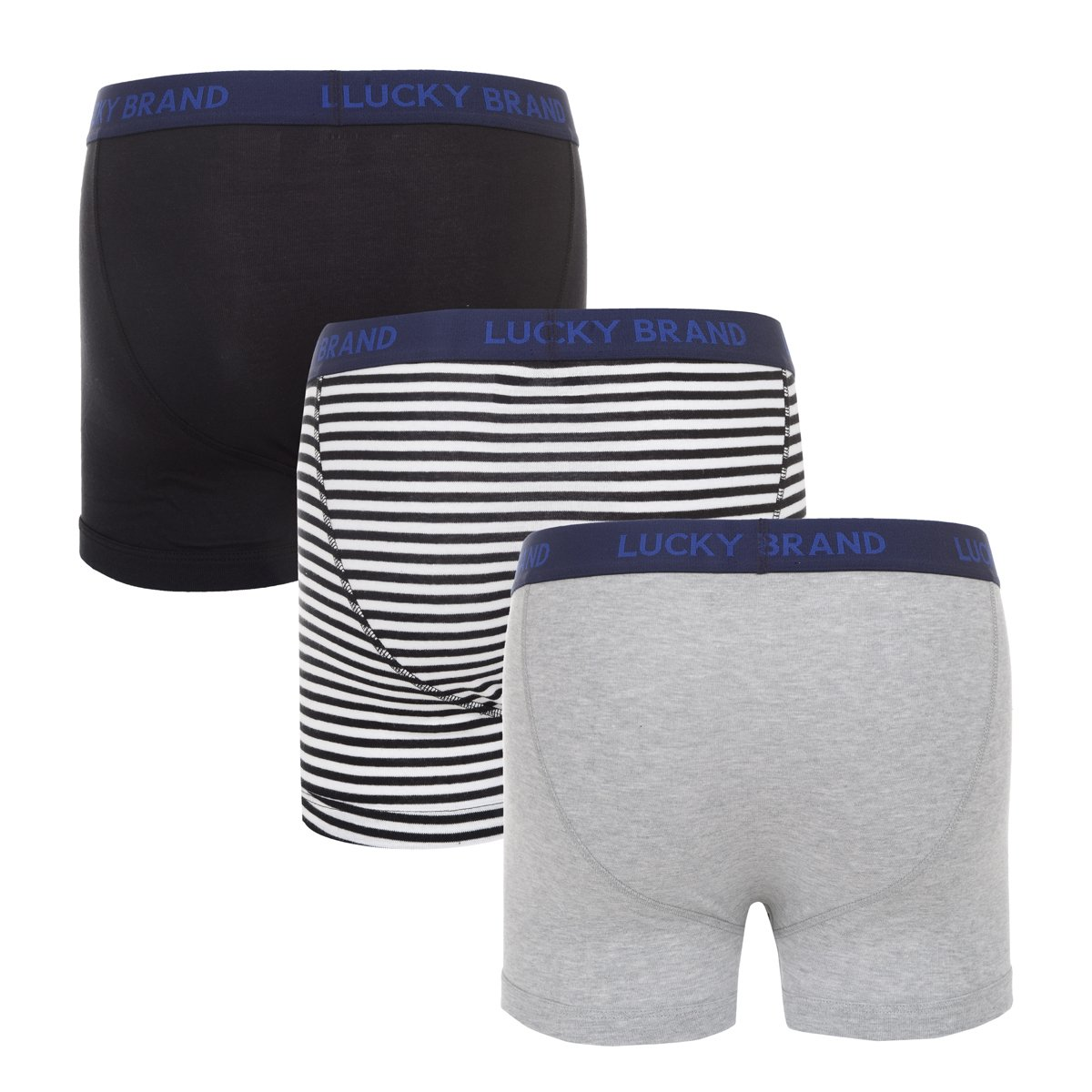 Lucky Brand Mens Cotton Boxer Briefs Underwear with Functional Fly 3 Pack