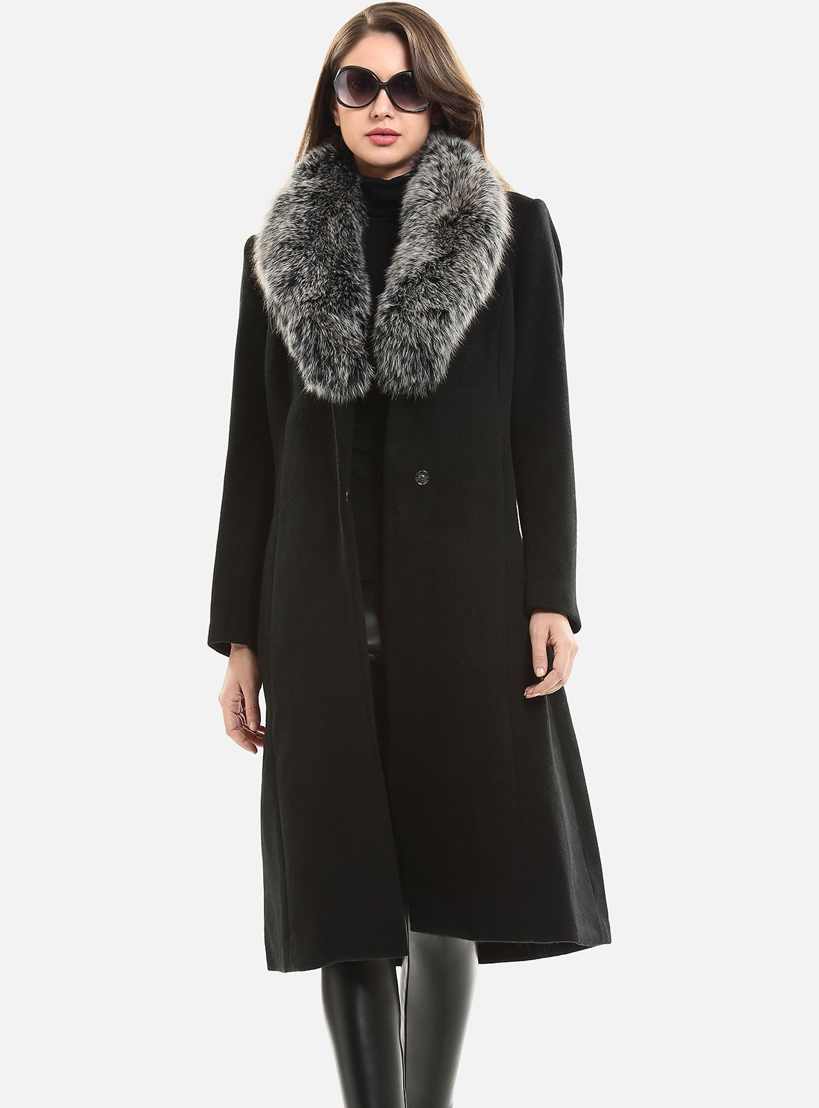 Escalier Women`s Wool Trench Belt Long Coat with Fur Collar Black 4XL by Escalier (Image #3)