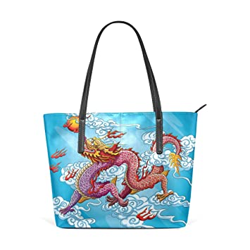 434ccb89e68a COOSUN Chinese Dragon Painting PU Leather Shoulder Bag Purse and Handbags  Tote Bag for women  Amazon.co.uk  Luggage