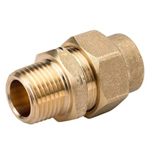 HomeFlex 11-436-005 1/2-Inch Brass Corrugated Stainless Steel Tubingx MIPT Male Adapter