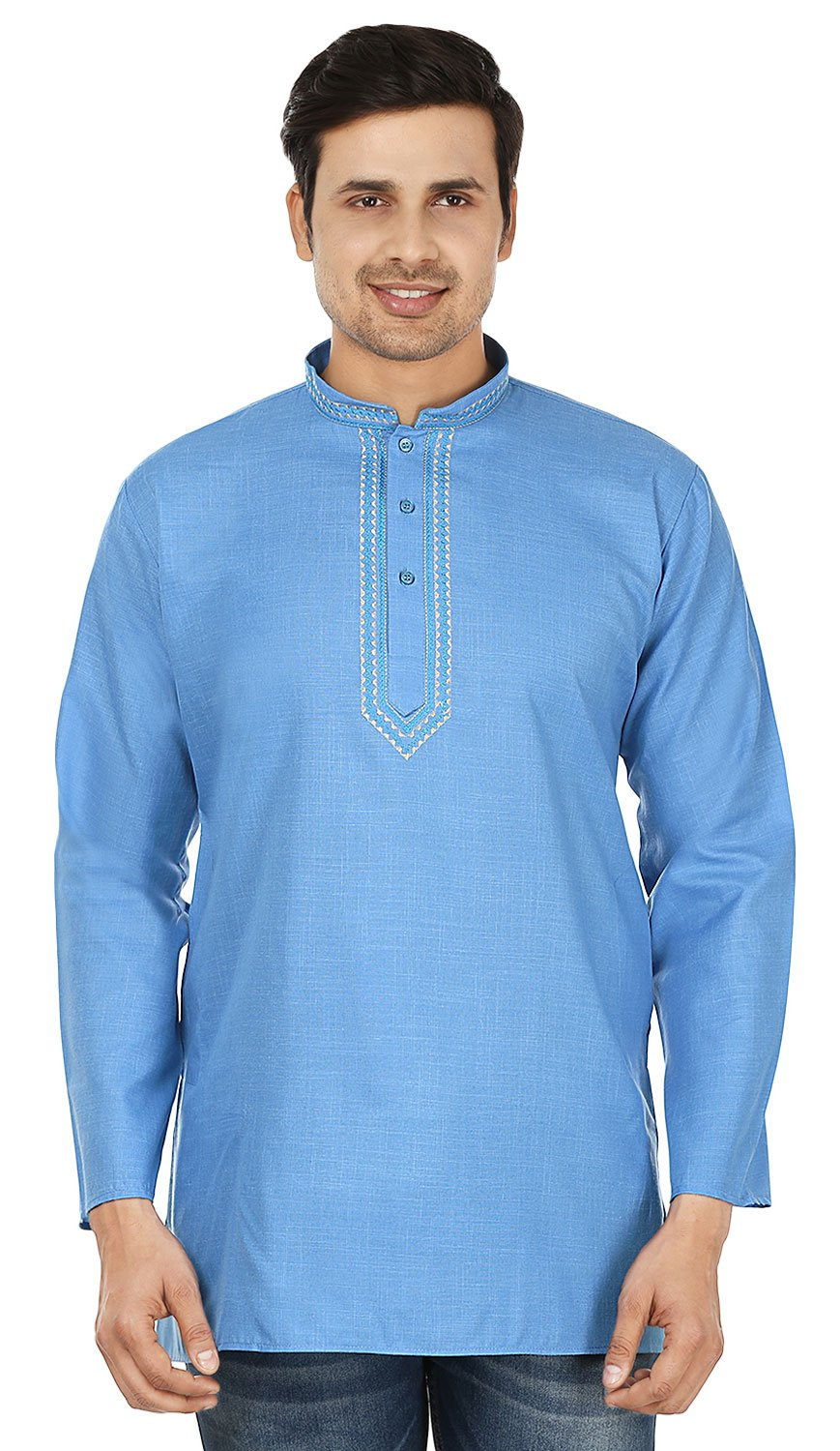 Embroidered Cotton Dress Mens Short Kurta Shirt India Fashion Clothes (Blue, S)