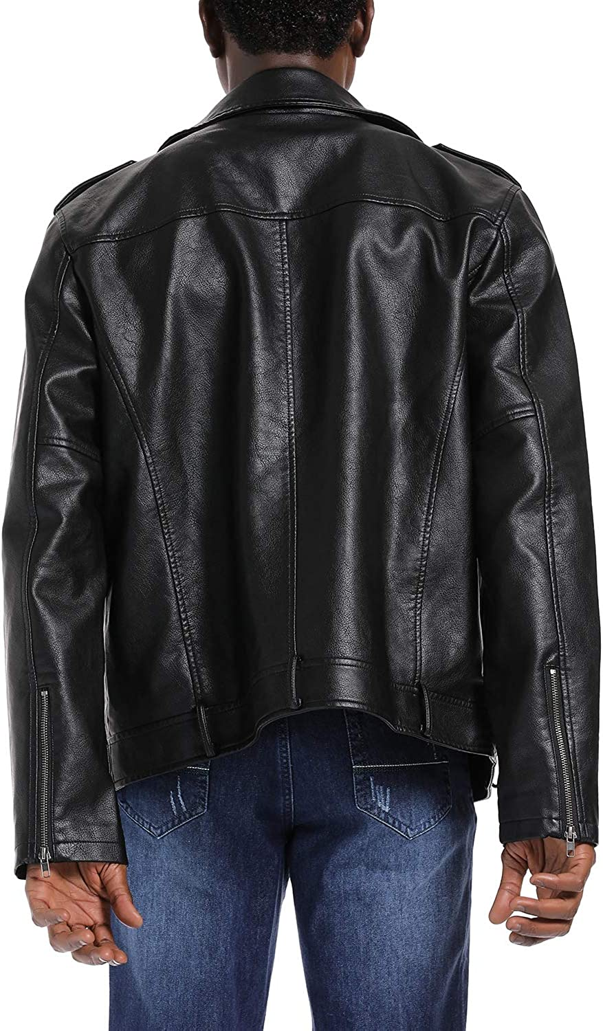 S P Y M Mens Casual PU Faux Leather Motorcycle Biker Jacket