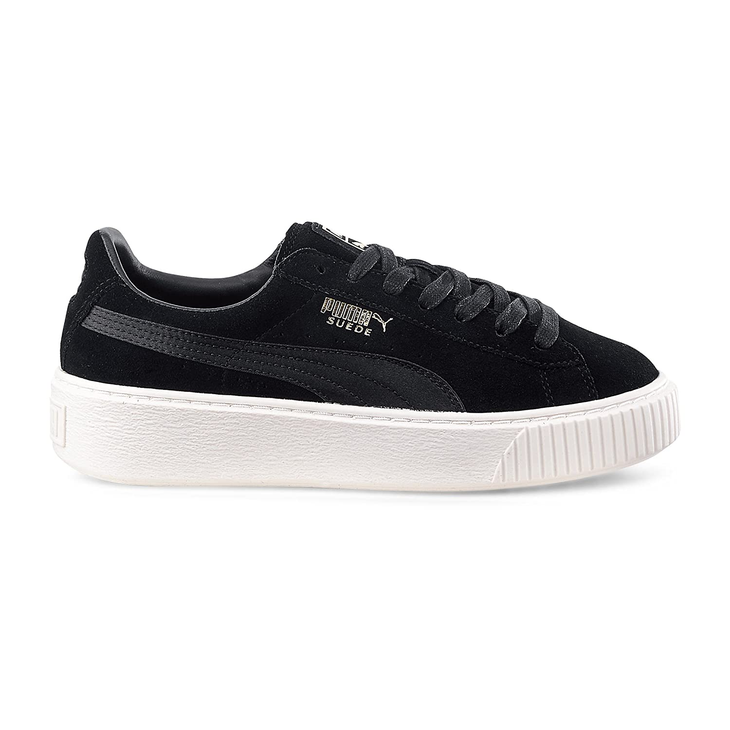 low priced 3a870 e794c Puma Womens Suede Platform Satin Wn's Shoes In Black Suede ...
