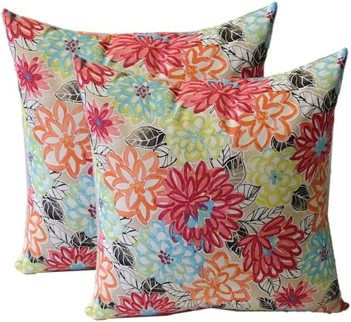 "Resort Spa Home Decor Set of 2 - Indoor/Outdoor Square Decorative Throw/Toss Pillows - Yellow, Orange, Blue, Pink Bright Artistic Floral - Choose Size (17"")"