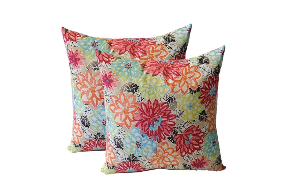 Set of 2 - Indoor / Outdoor Square Decorative Throw / Toss Pillows - Yellow, Orange, Blue, Pink Bright Artistic Floral - Choose Size (17'')