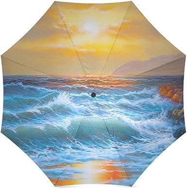 Umbrella Sea Wave Custom Umbrella Automatic Folding Umbrella Rainproof /& Windproof