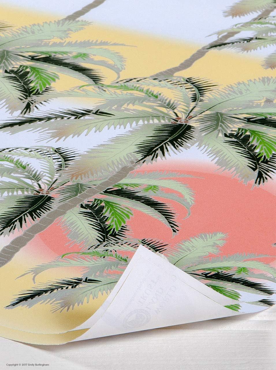 4 Sheets Emily Burningham Papel de regalo con dise/ño de /árboles de palmera y sol