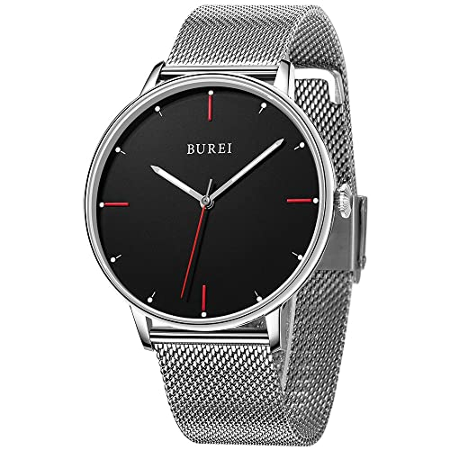 BUREI Men Women Ultra Slim Minimalist Quartz Watches with Big Dial Date Stainless Steel/Leather