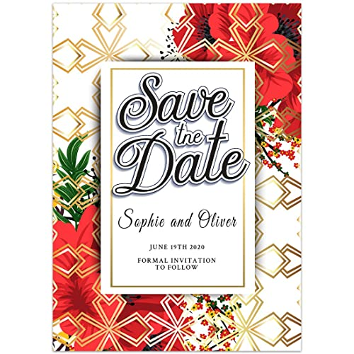 floral christmas save the date card wedding invitation