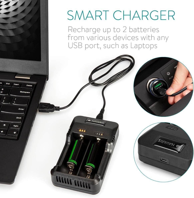 Navaris Dual Batterie Ladeger/ät f/ür NI-Mh NI-Cd AA AAA Li-ion 10440 14500 16340 17670 18350 18500 18650 26650 Batterien Akku Charger Ladestation
