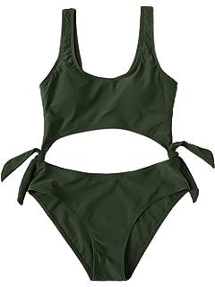95be36a0b8 SweatyRocks Women s One Piece Swimsuit Solid Color Tie Side Cutout Monokini  Bathing Suits
