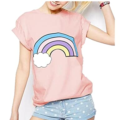 Wiipu Womens Rainbow print cotton cute pink t-shirts tees camisetas tops(J814)