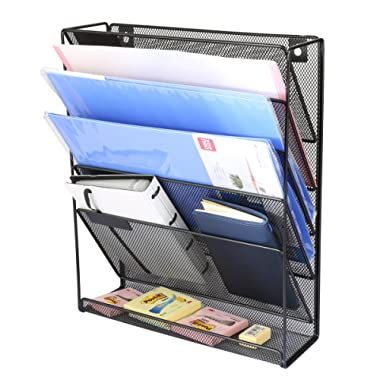Linkfu 5 Tier Hanging Wall Office Organizer,Mesh Metal Multi-Functional Wall Mount Document Letter Tray Organizer for Home,Office,Magazine Rack and File Storage,Black