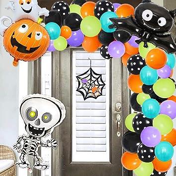 JOYMEMO Halloween Balloon Garland & Arch Kit Decoraciones de Halloween 110 Pack Globos Cinta Adhesiva Skelecton Bat ...
