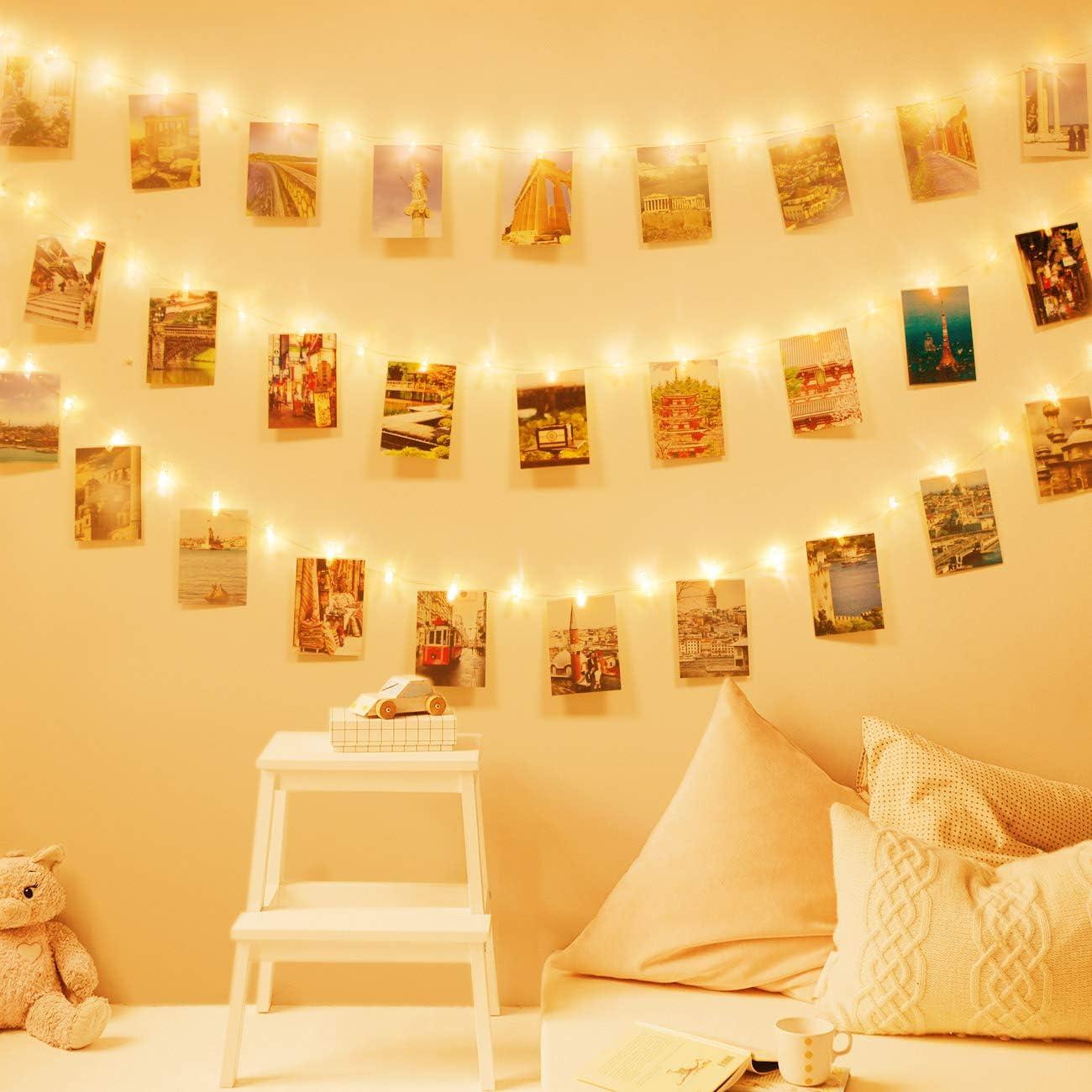 cuadros con pinzas para colgar fotos con luces led