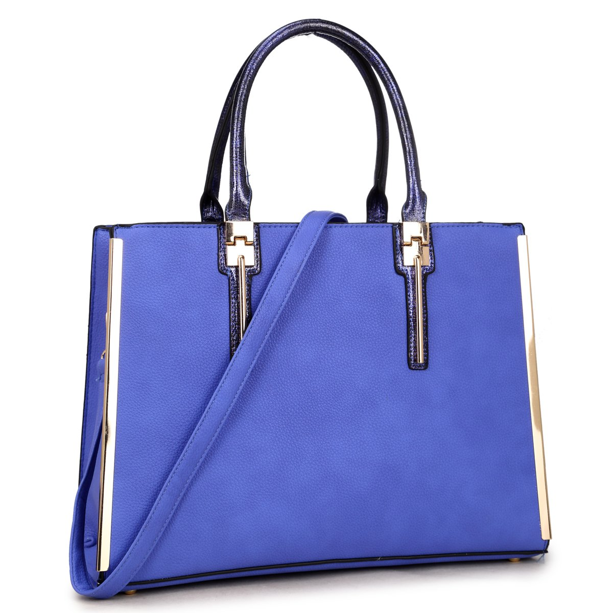 New Women Handbag Faux Leather Satchel Bags Medium Purse Briefcase (Royal Blue)