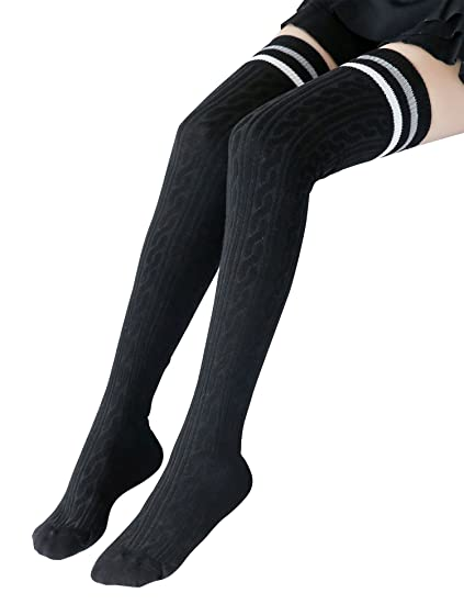 bfead74f2 Image Unavailable. Image not available for. Color  Women Two Stripe Over  Knee High Socks Tube Socks with Non Slip Silicone