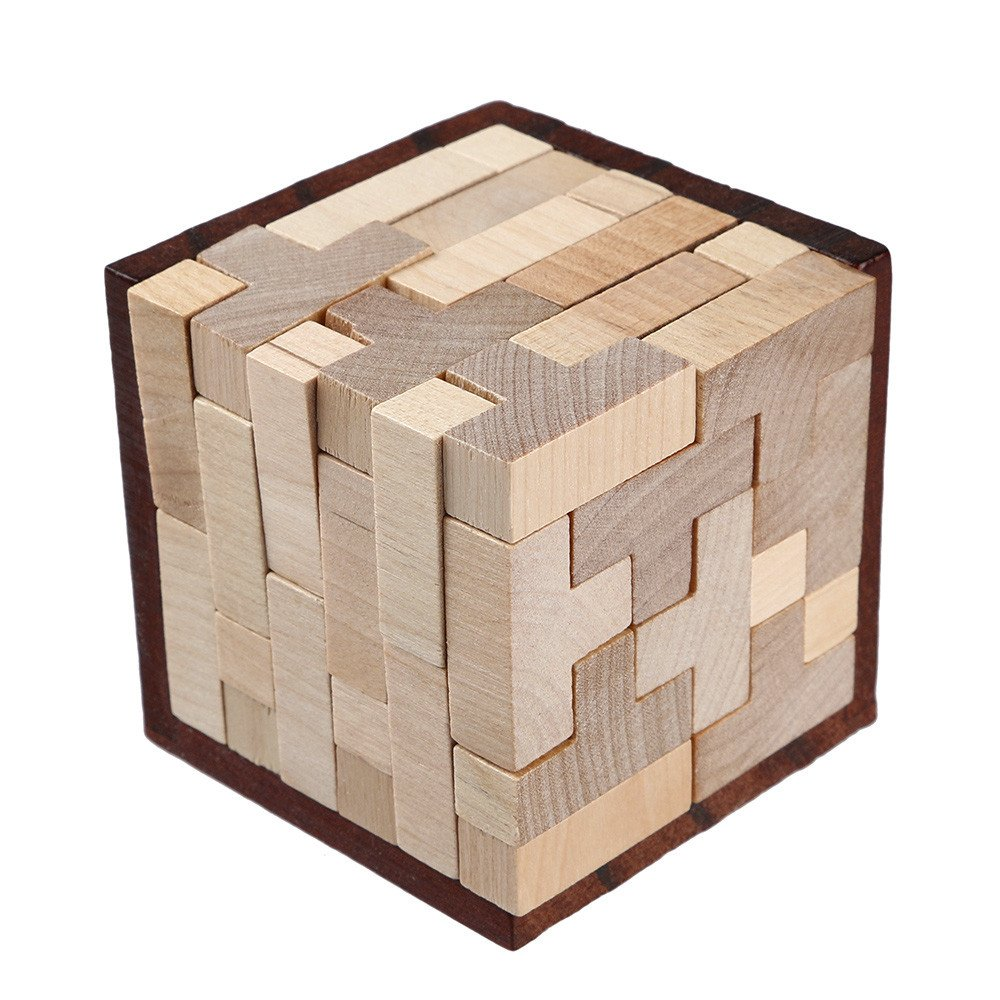 Buoyee Wooden Intelligence Toy Chinese Brain Teaser Game 3D IQ Puzzle Cube Interlocking Jigsaw Assembling Toy Educational Toys for Kids Teens Adults