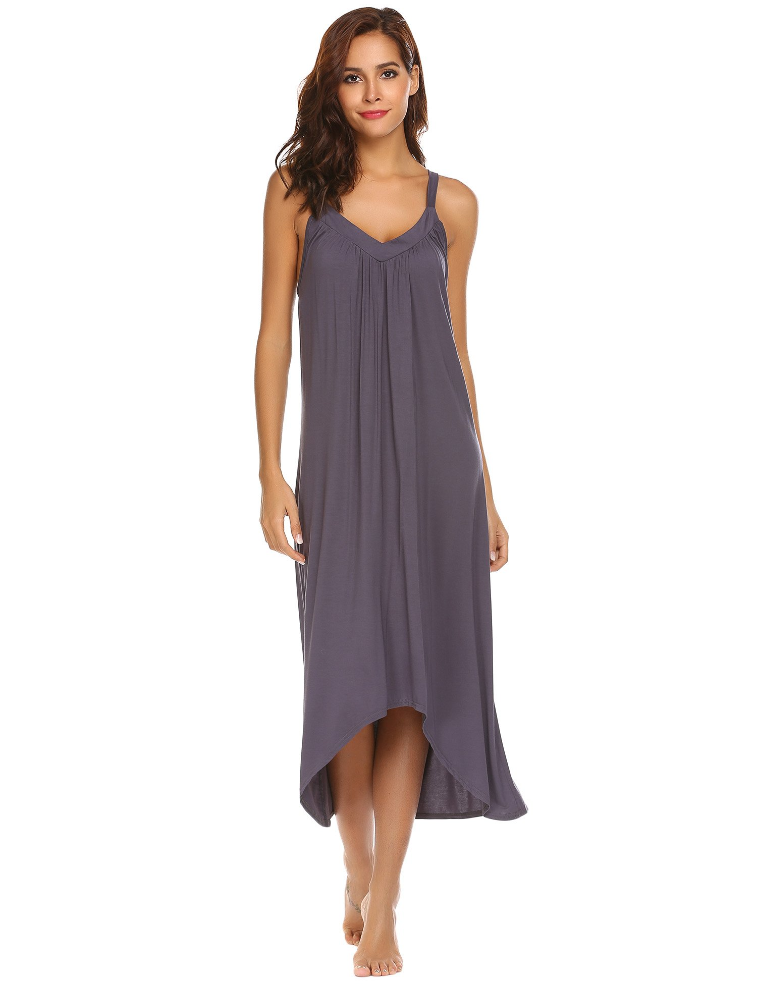Ekouaer Womens Sleeveless Long Nightgown Summer Slip Night Dress Cotton Sleepshirt Chemise,A-dark Grey_6696,Small