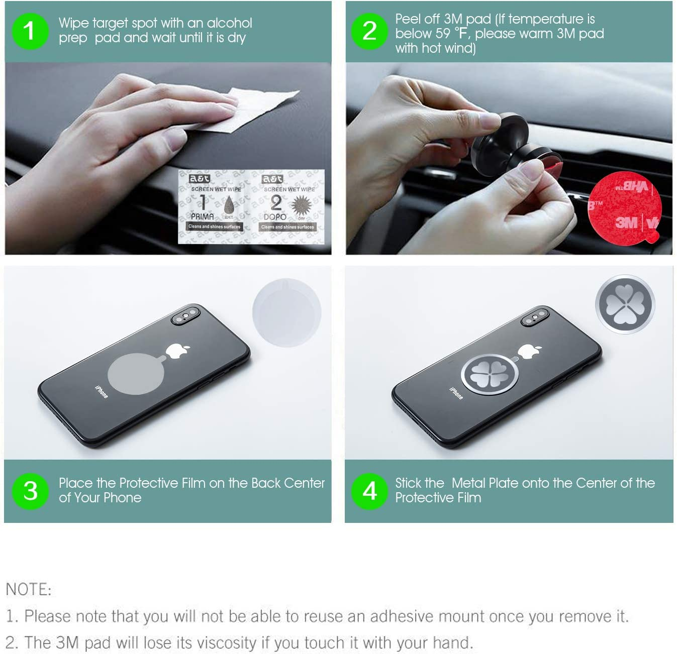 Hands Free Cell Phone Holder for Car with Strongest VHB Adhesive Stick on Dashboard IKOPO Magnetic Phone Car Mount