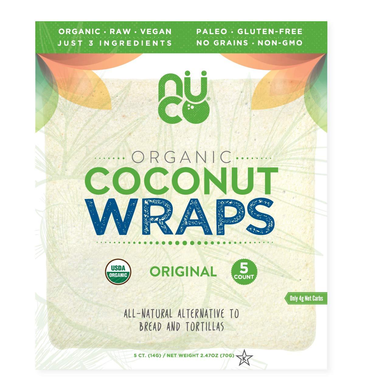 NUCO Certified ORGANIC Paleo Gluten Free Vegan Coconut Wraps, 5 Wraps, 2.47 oz