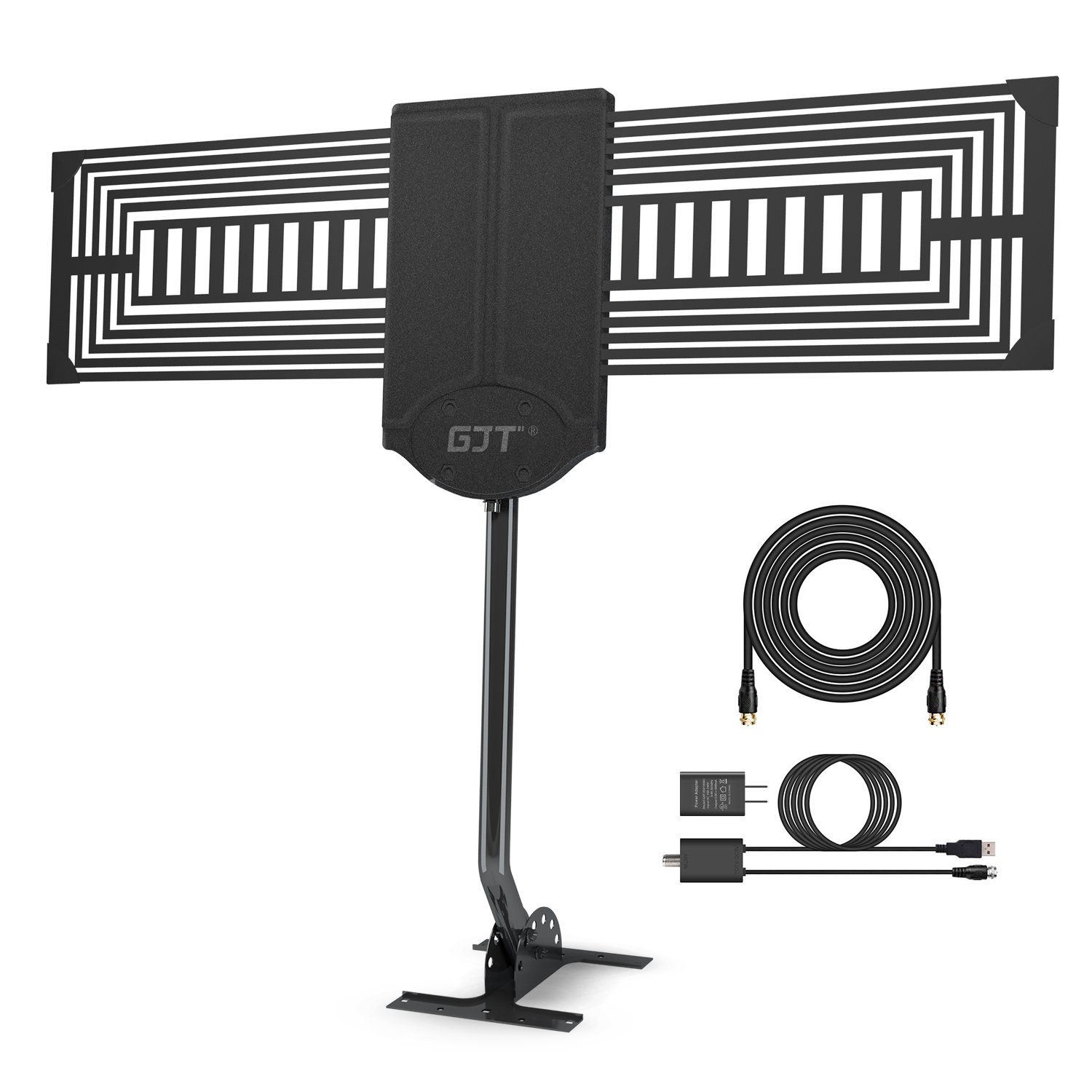 GJT Outdoor TV Antenna 150 Miles Range High Reception Digital HDTV Attic/Roof Antenna with Amplifier and Mount Kit for Free Channel,30ft High Performance Coax Cable with Adapter