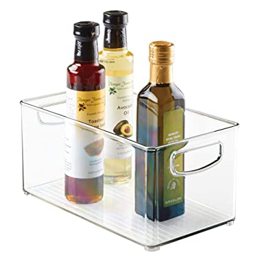 interDesign Plastic Storage Bin with Handles for Kitchen, Fridge, Freezer, Pantry, and Cabinet Organization, BPA-Free, Large Clear 3 Ounce