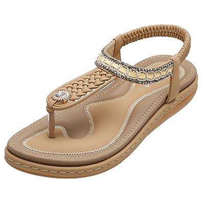7d8eaa5dbc1e SANMIO Damen Sandalen, Frauen Flach Zehentrenner Bohemian Strass Sandaletten  Sommer PU Leder Sandals- Gr