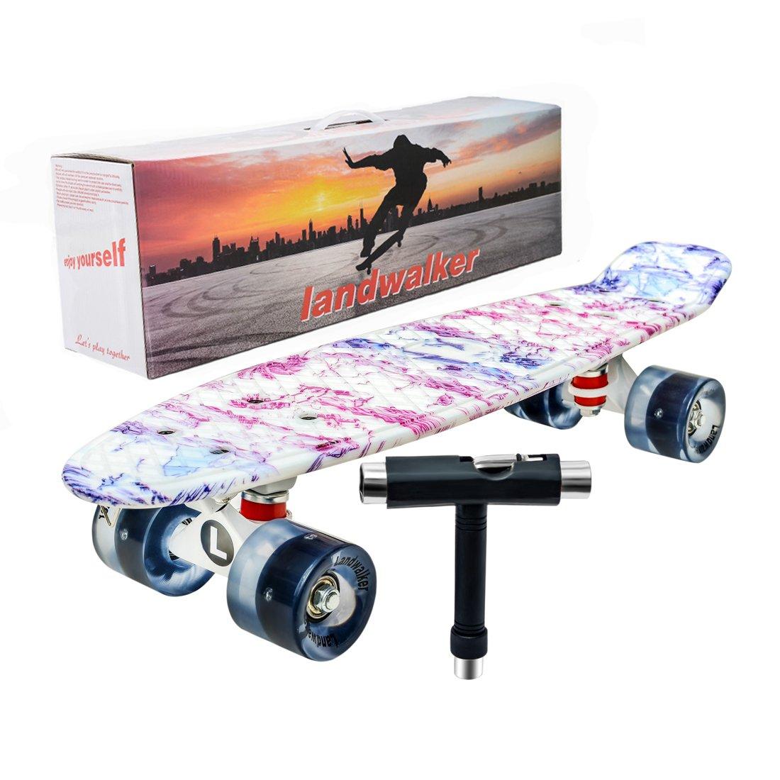 Landwalker 22'' Complete Skateboard Banana Cruiser Galaxy Skateboards Boys Girls Kids Board(Coconut Tree)