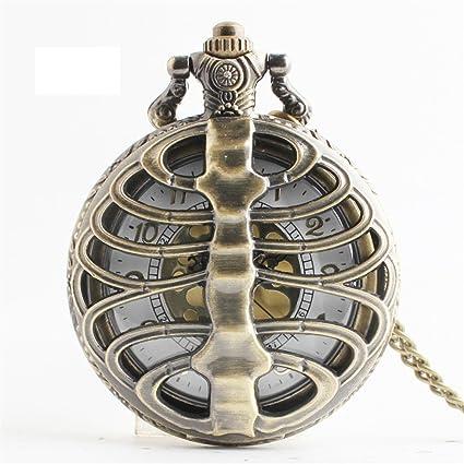 Maybesky Regalo de Mesa Colgante de Cuarzo de Bronce Reloj Colgante Reloj de Bolsillo Hueco Hueco