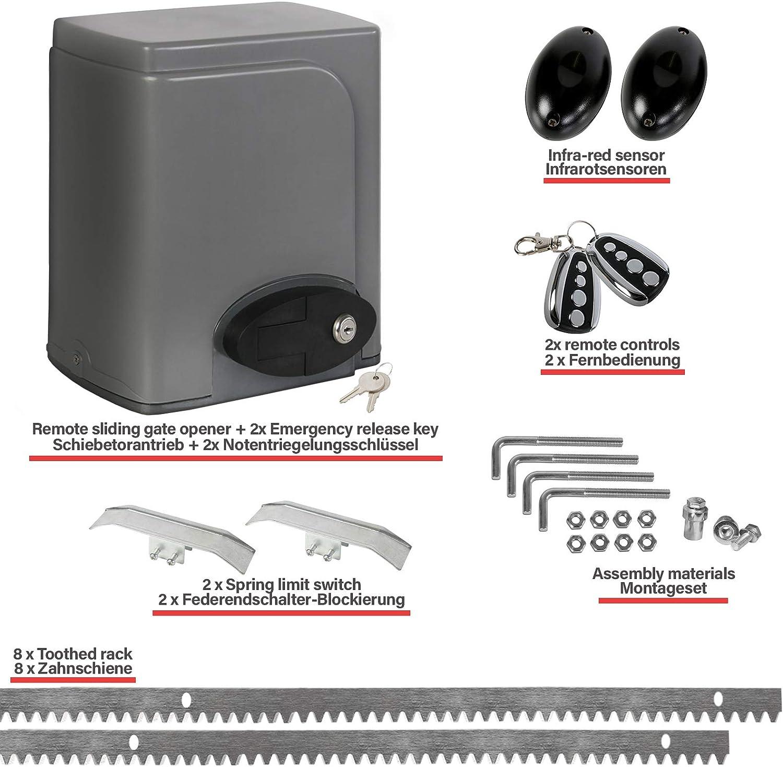 Automatischer Schiebetor/öffner 2000KG//750W 220-230V Schiebetorantrieb Torantrieb Schiebetor Elektrischer Schiebetorantrieb Tor/öffner Tor/öffnermotor mit 2 Fernbedienungen