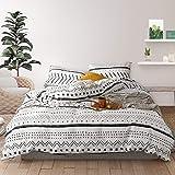 HYPREST Boho Duvet Cover Set - 3 Pcs Soft Queen White Duvet Cover Bohemian Aztec Comforter Cover Bedding Set (Not…
