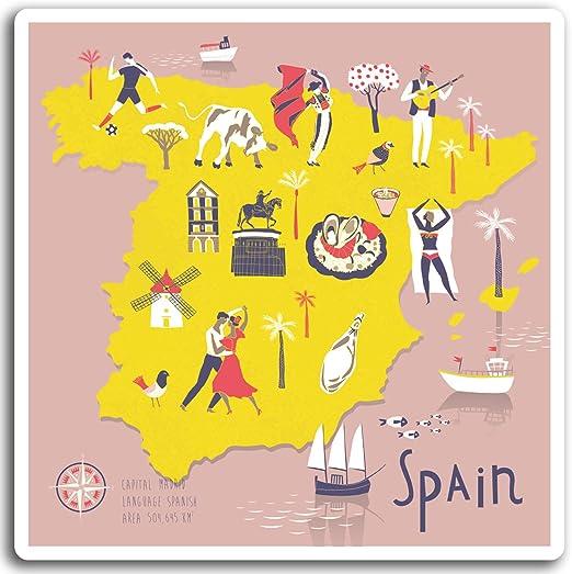 2 x 10 cm del mapa de España pegatinas de vinilo - Viajes Madrid Etiqueta de equipaje portátil # 17028 (10 cm de ancho): Amazon.es: Hogar