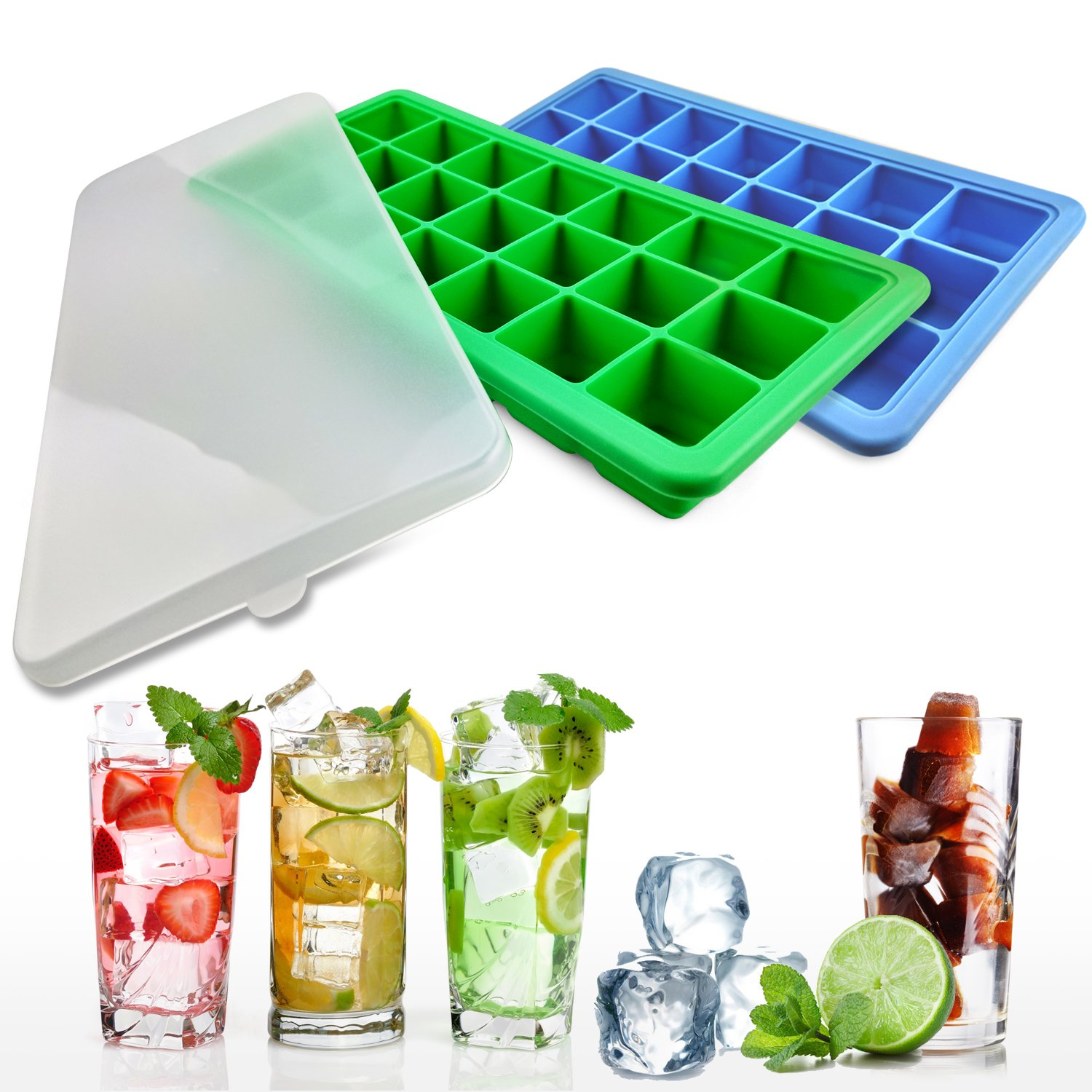 Lifestyle Essentials Silicone Ice Cube Trays with Lids - 2 Ice Tray with BPA Free Plastic Lid for Baby Food or Cocktail - 42 Small Square Ice Molds for Freezer - Stackable and Flexible Twist and Pop for Easy Release