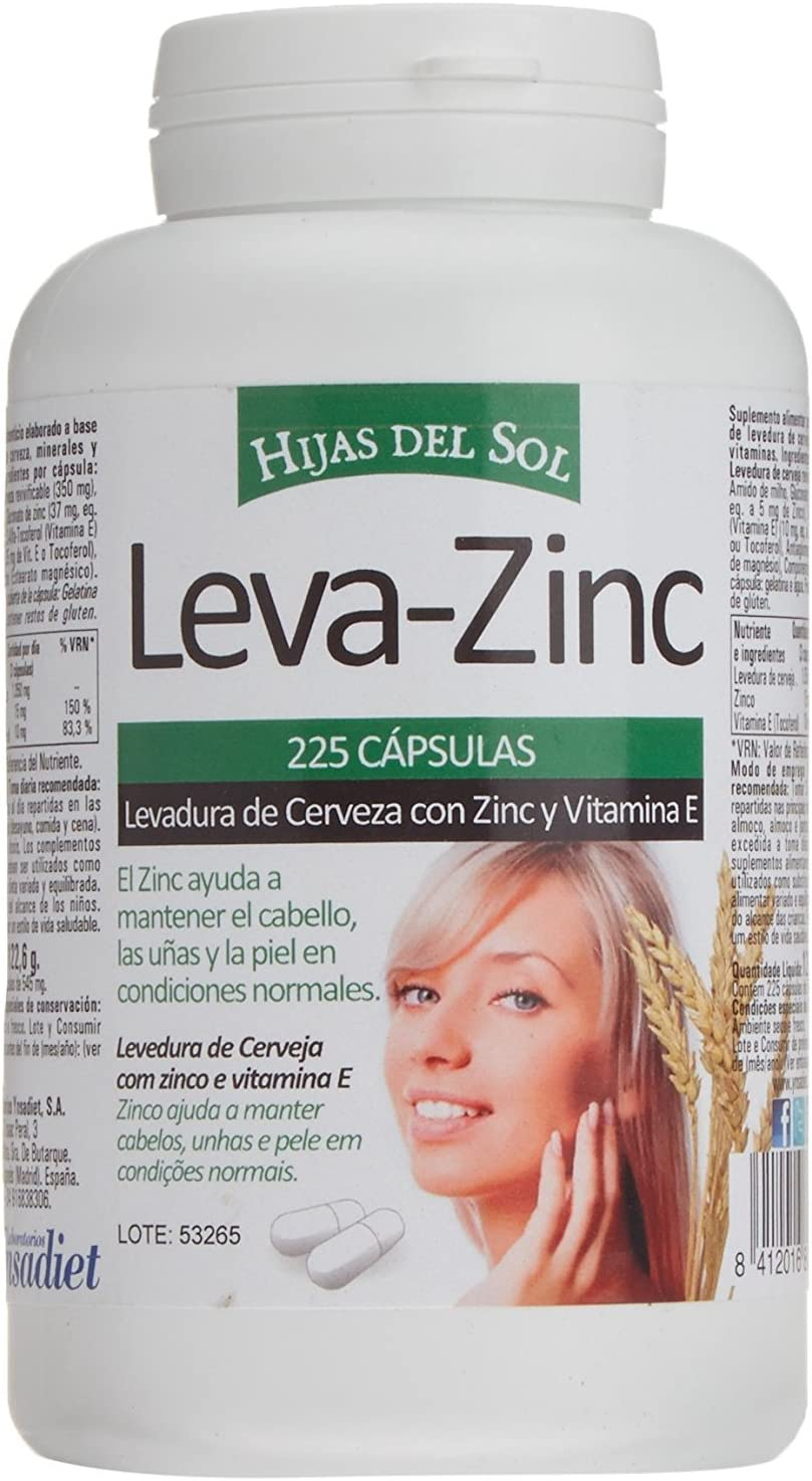 LEVA ZINC Complemento alimenticio de zinc, levadura de cerveza y vitamina E para ayudar a prevenir la caída del cabello también bueno para cabello piel y uñas Suplemento de vitaminas para fortalecer e