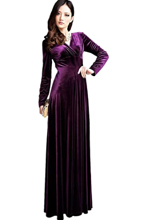 Medeshe Womens Purple Formal Long Evening Prom Velvet Maxi Dress ON SALE (UK 8/