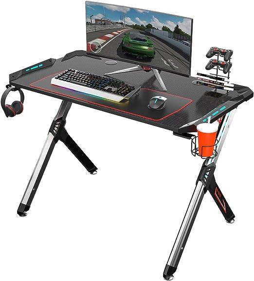 Amazon Com Eureka Ergonomico R1 S Escritorio Gaming Mesa Grande