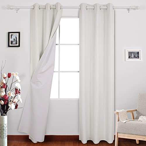Deconovo Blackout Coating Back Layer Thermal Insulated Light Blocking Curtains for Bedroom Set of 2, 38W x 95L Inch, Off White