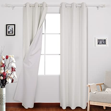 Deconovo Texture Wood Grain Grommet Blackout Curtains With Coating Back Layer Thermal Insulated Light Blocking