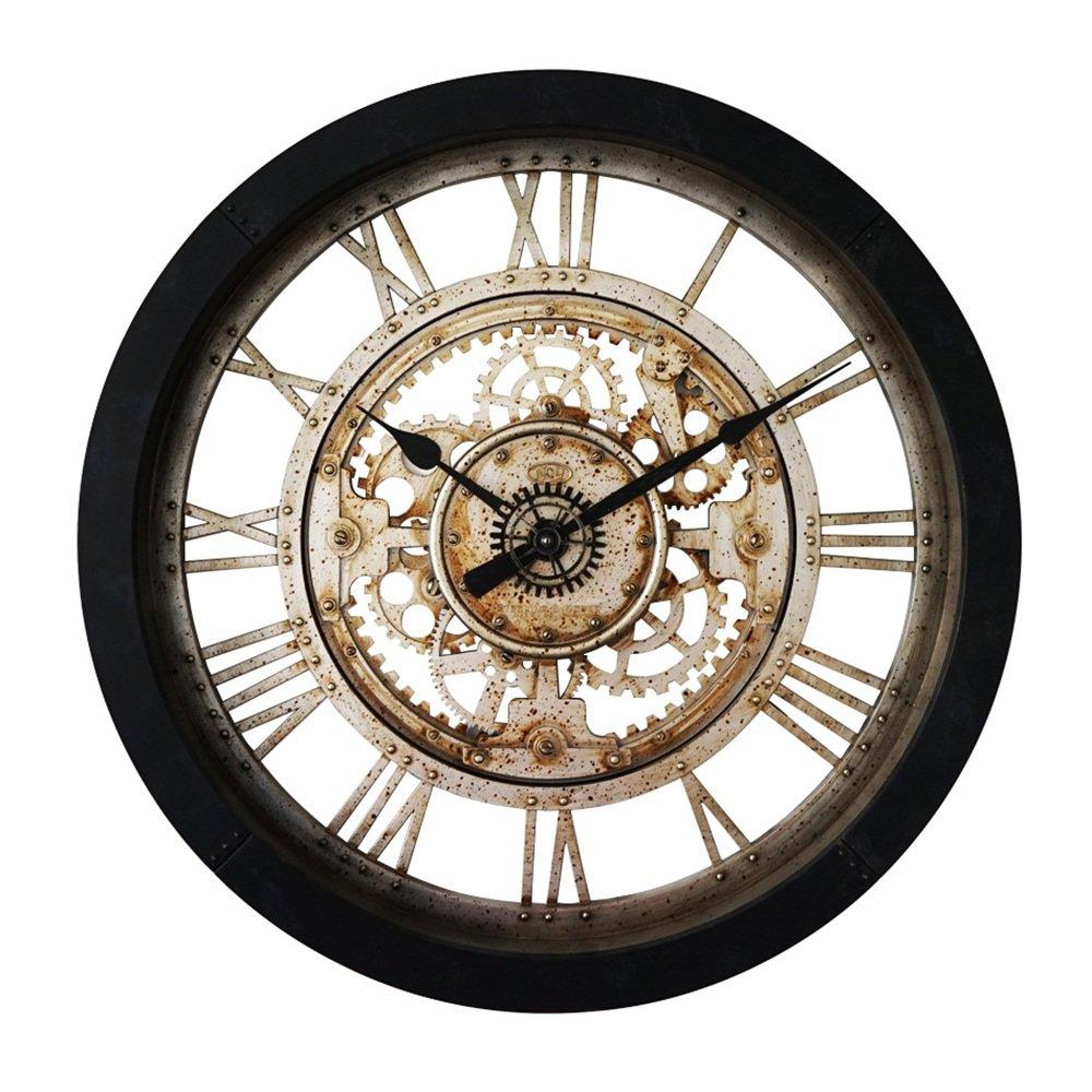Horloges murales Horloges murales rétro - Rouille creuse - Horloge à quartz de style industriel mécanique Horloges murales Gao Yuan Hong Shop