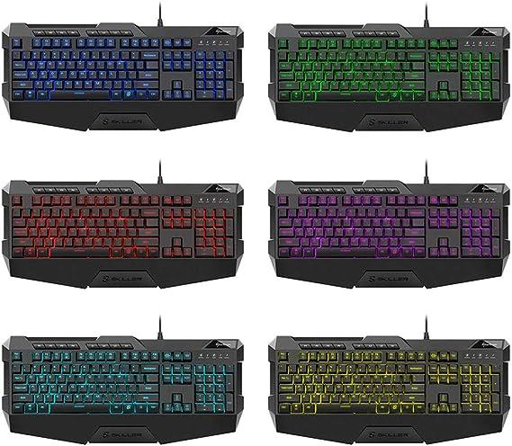 Sharkoon SGK4 - Teclado Gaming de Membrana RGB Español, 4 Perfiles, Negro