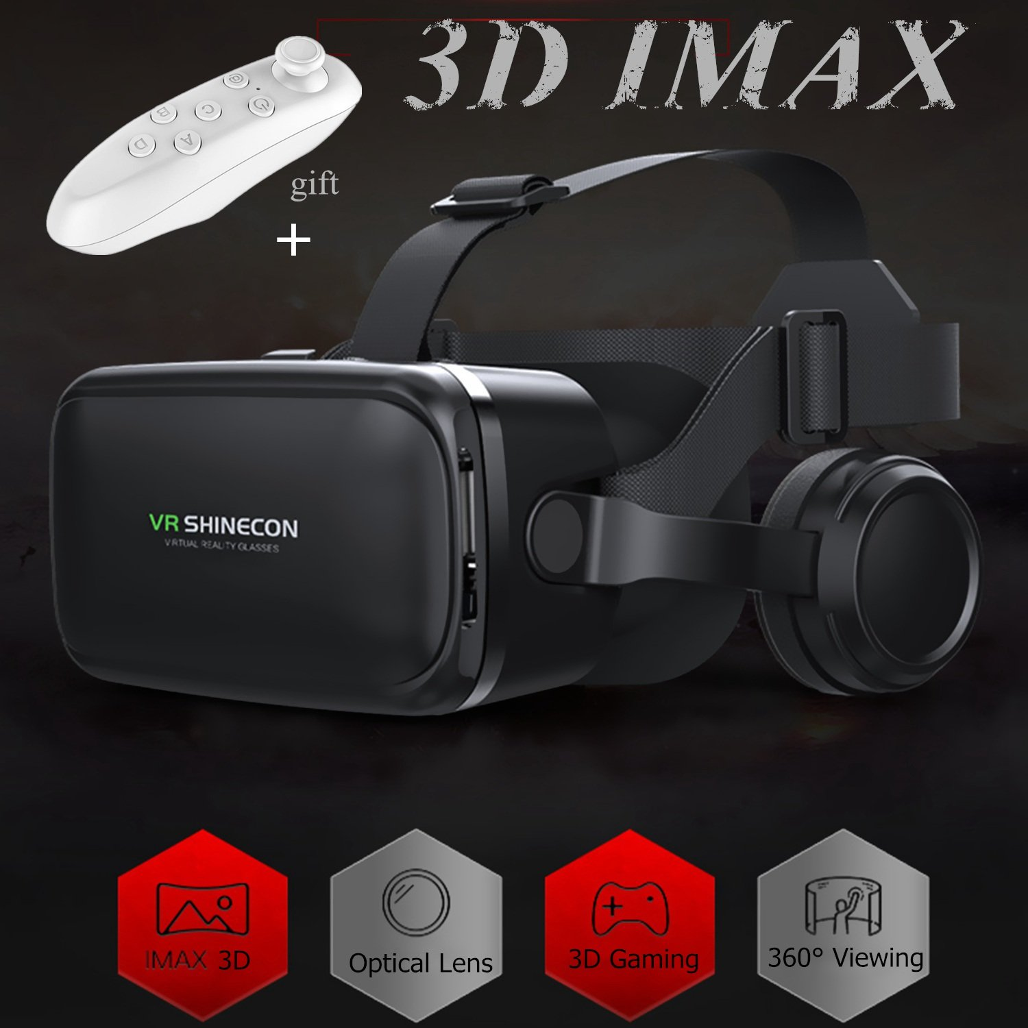 VR Headset/Glasses with Remote Controller & Headphones[Built-in], TSANGLIGHT Virtual Reality Headset 3D IMAX Movie Game Visor for Galaxy S8 S7 iPhone X 8 7 Plus &Other 4.7-6.0'' Android/iOS Smartphone by TSANGLIGHT