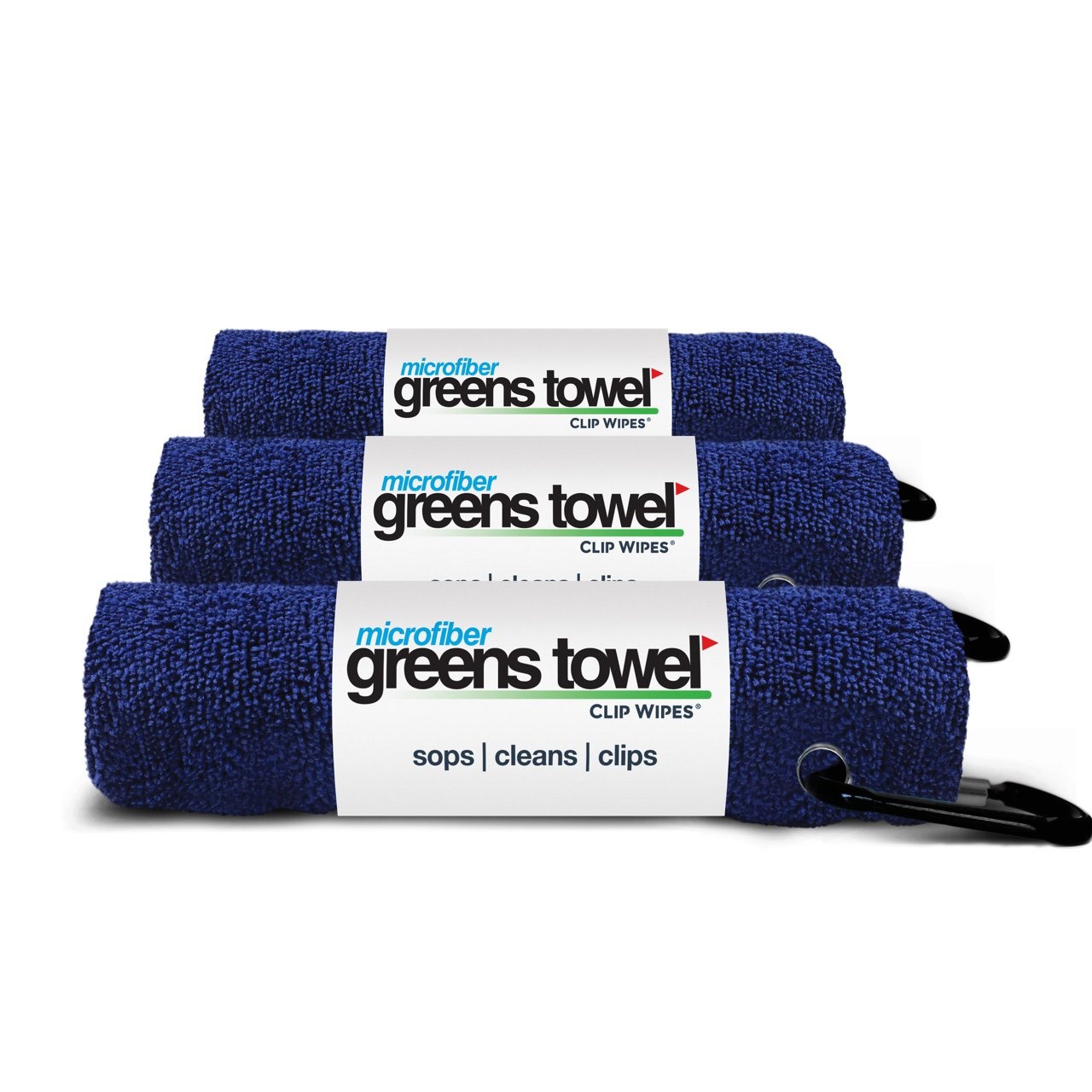 3 Pack of Navy Blue Microfiber Golf Towels by Greens Towel