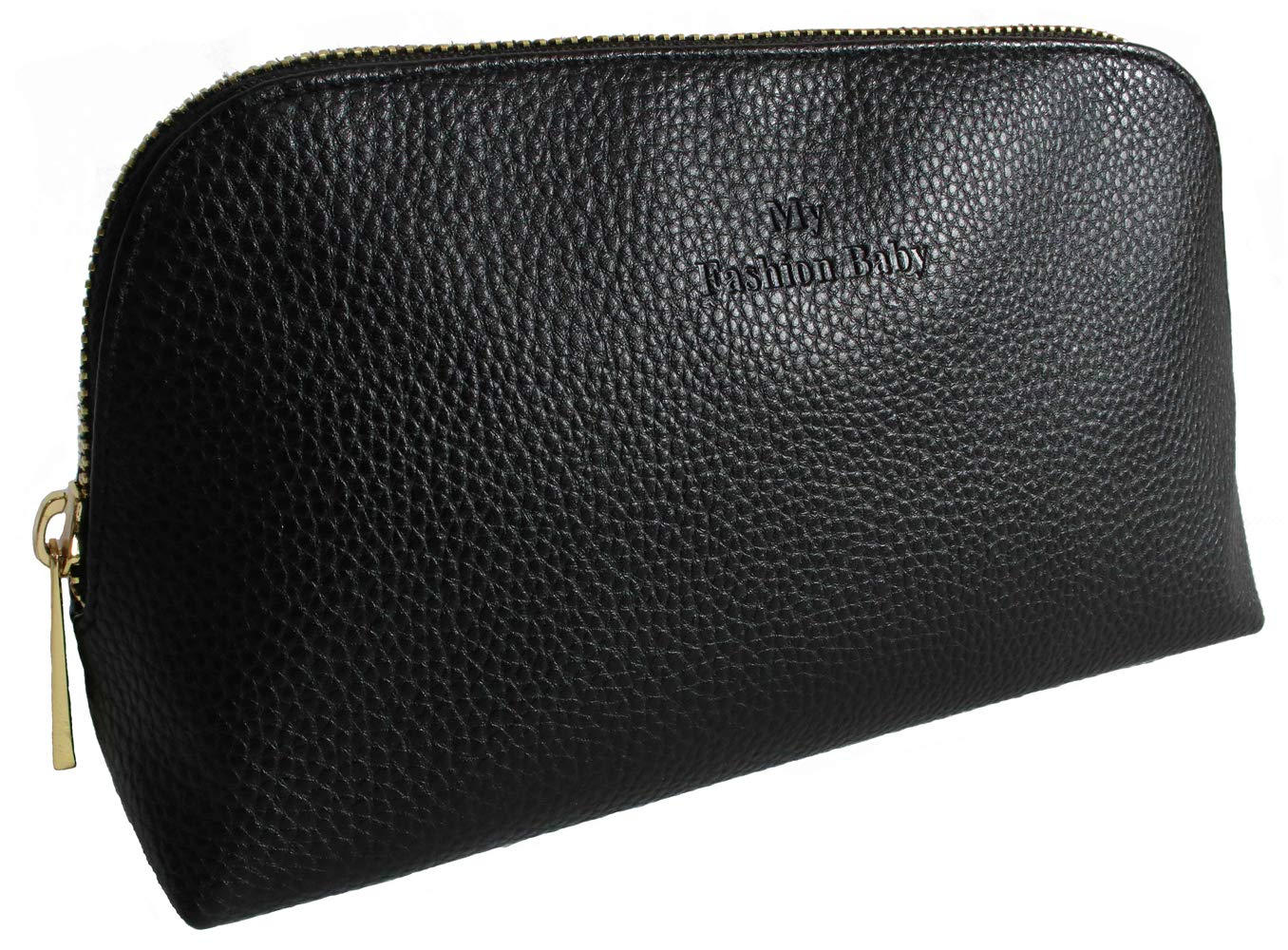 Medium Travel Makeup Bag for Women's Accessories & Toiletries Leather Cosmetic Pouch Travel Organizer Toiletry Clutch,Black