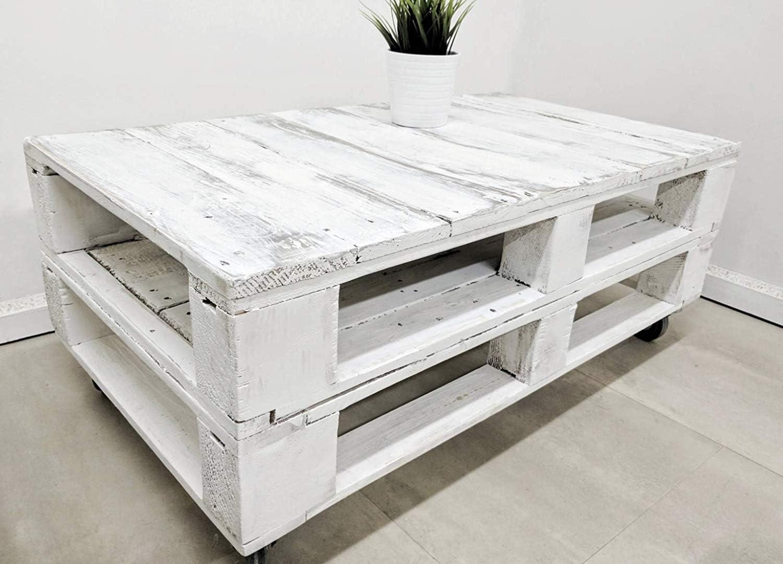 Mesa de Palets Pintada en Color Blanco Envejecido - Mesitas ...
