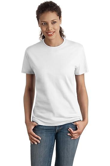 edd6e42406 Hanes Womens 4.5 Oz. 100% Ringspun Cotton Nano-T T-Shirt(SL04)-White-2XL at Amazon  Women s Clothing store