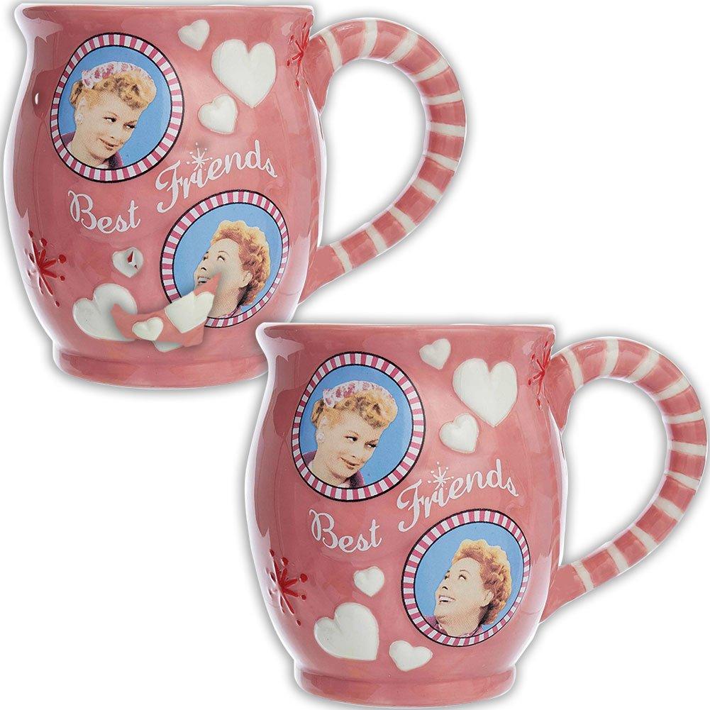(Set/2) I Love Lucy & Ethel Best Friends TV Show Coffee Mug Tea Cup 10 Ounce