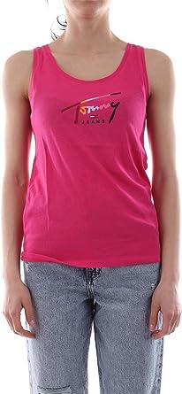 Tommy Jeans DW0DW06500 Tommy Script Tan Camisetas Y Camisa DE Tirantes Mujer Fucsia M: Amazon.es: Ropa y accesorios